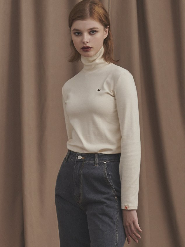 19 LITTLE FOX TURTLENECK [CREAM]